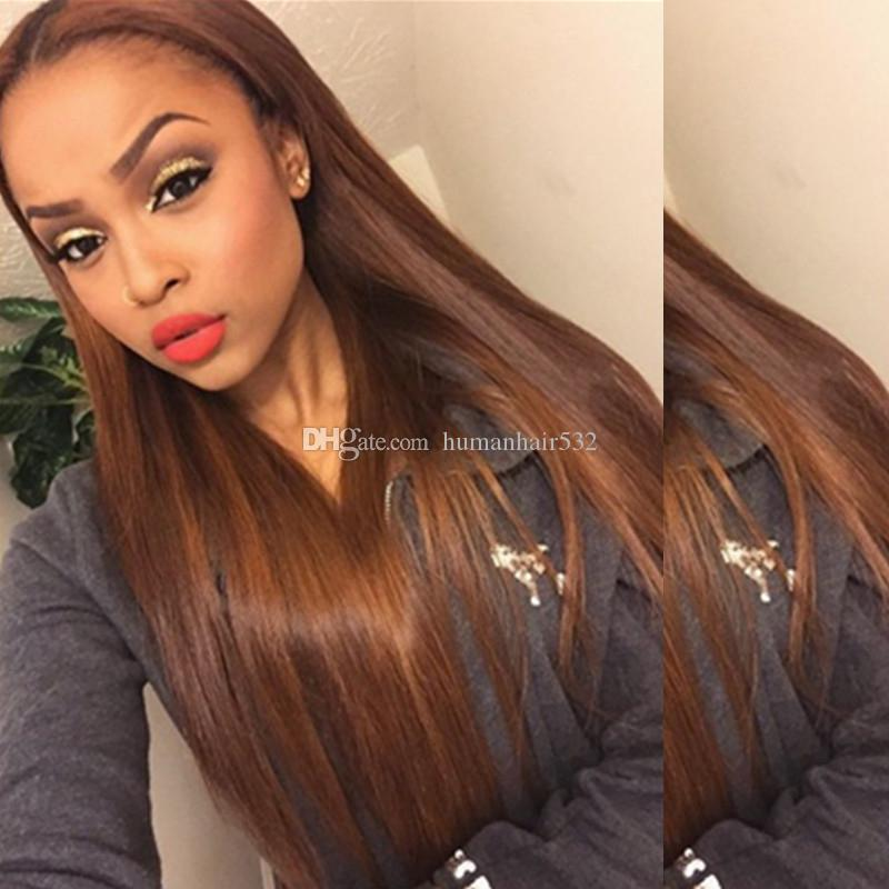 Straight Lace Front Human Hair Wigs #30 Blonde Color Brazilian Virgin Hair Lace Front Wig Pre Plucked Bleached Knot Baby Hair