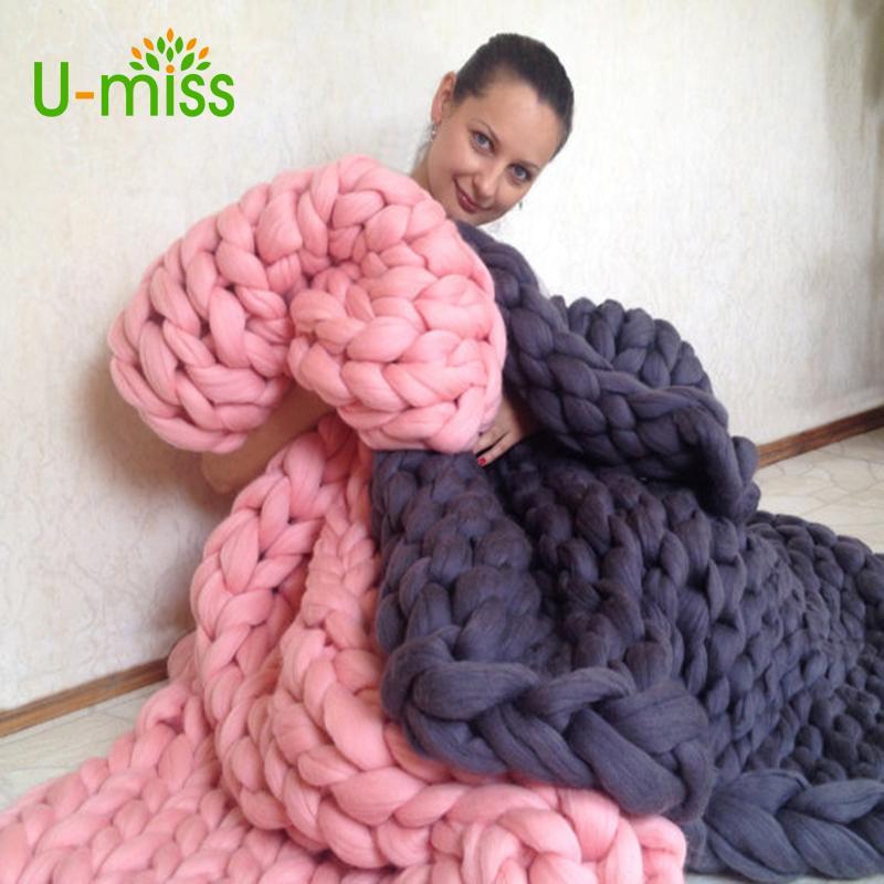 U-miss Moda Fio Grosso Merino Lã Tricô Cobertor Macio Outono e Inverno Quente Mão Chunky Malha Sofá Cobertor