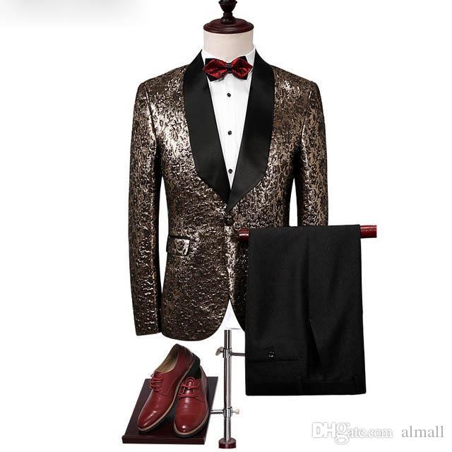 Marken-Jacke + Pants 2 Stück Suits Slim Fit Abschlussball-Partei-Kleid Luxuxblume Farbe Kleidungs-gute Qualität Heiße verkauf