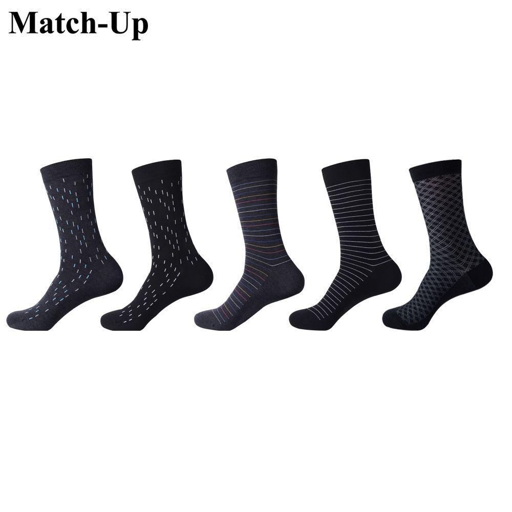 Maç-up erkek çorapları renk pamuk iş elbisesi rahat komik uzun çorap (5pairs / lot)