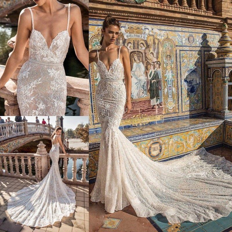 2018 Berta Mermaid Wedding Dresses Spaghetti Lace Applique Sweep Train Backless Beach Wedding Gowns Rhinestone Sash Boho Bridal Dress