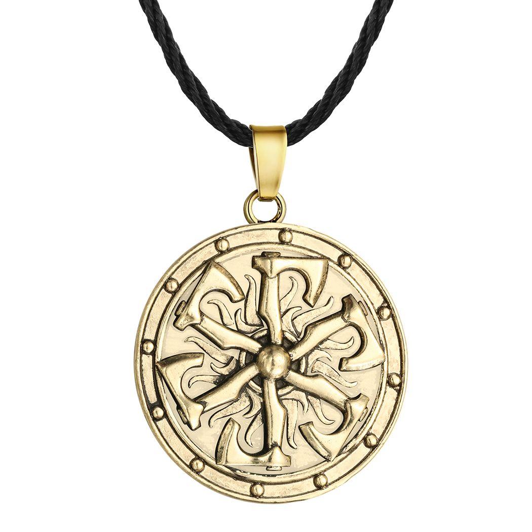 5pcs/lot Viking Axe Pendant Necklace Shield Norse Mythology For MenS Round Charm Metal Punk Ethic Luxury Retro Amulet Collars