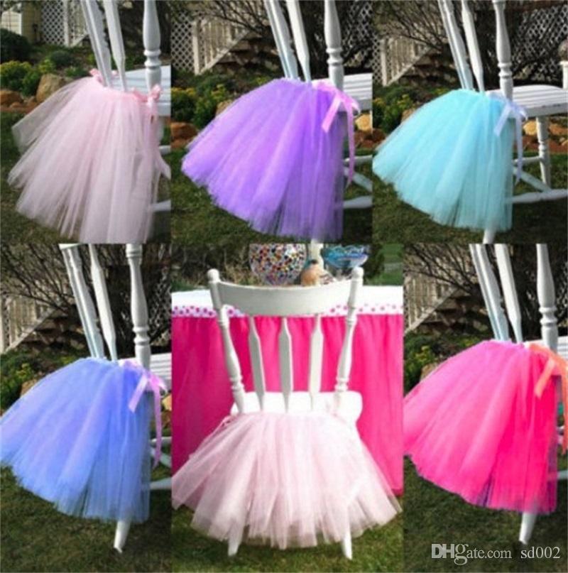 Falda del tutú de la silla del color sólido para las decoraciones del cumpleaños del partido Fuentes Hilado neto de la boda detrás de la cubierta de la silla Venta caliente 18mr CB