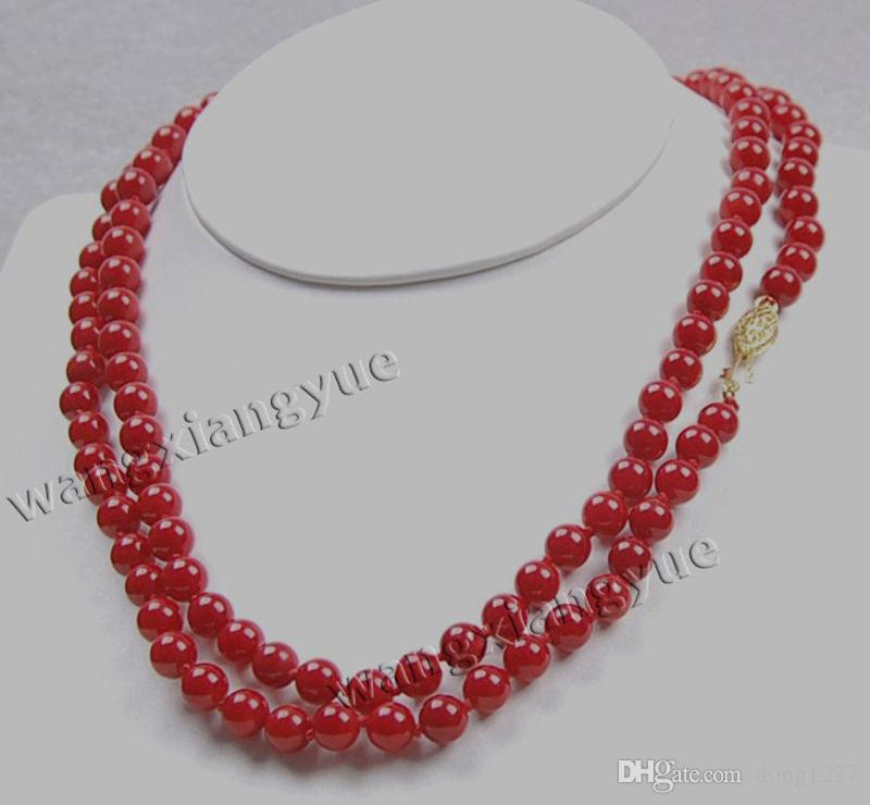 "Charming! 7-8mm Red Coral Round Beads Fashion Jewelry Necklace 32"" Hand Knotted"