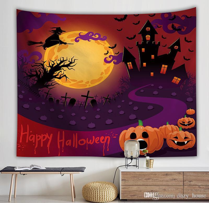 Halloween crâne Tapisserie Décor À La Maison Polyester Tissu Mural Tentation Bohémien Porte Rideau Couverture pour Halloween