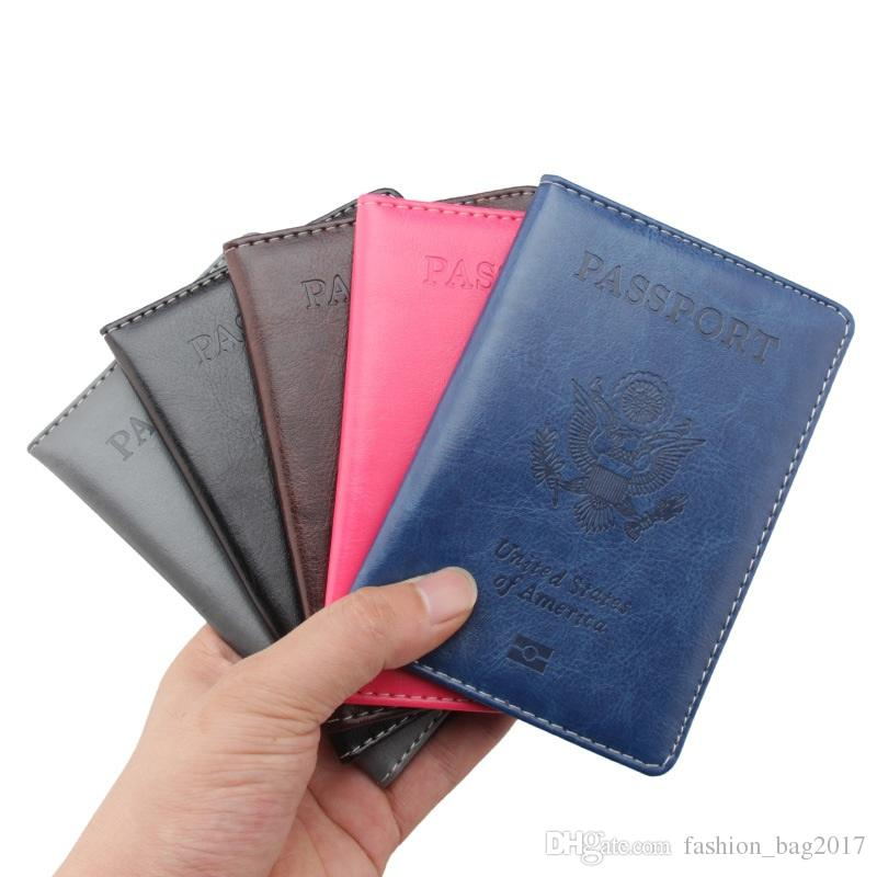 Amerikan Pasaport Cüzdan Rahat Seyahat ABD Pasaport Kapağı Kadın Erkek Pasaport Kredi Kartı Tutucu Kılıf PU Deri Kartvizit