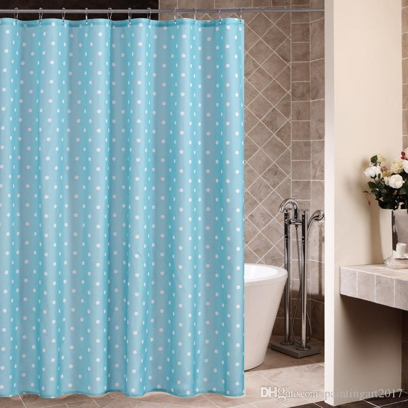 Home Tende da doccia impermeabili moderne Prodotti per il bagno Polka Dots Tenda da doccia in poliestere con 12 ganci