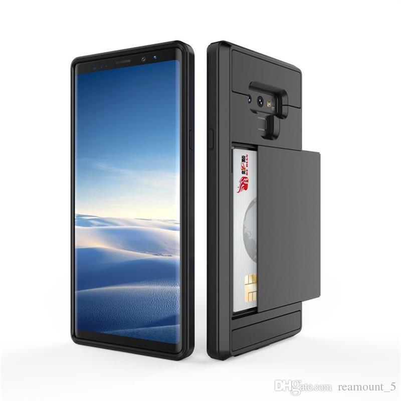 Für samsung note 8 s9 plus rüstung stoßfest schieben versteckte rückseitige abdeckung hybrid phone case mit kartensteckplatz brieftasche