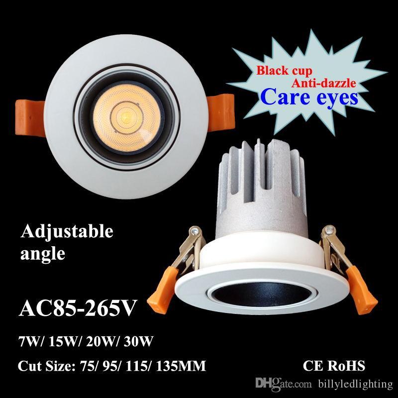 LED Downlight COB 15W 20W 30W AC85-265V encastré Plafonnier Cut 70 / 90mm d'économie d'énergie d'éclairage mural Wash Projecteur avec CE conducteur