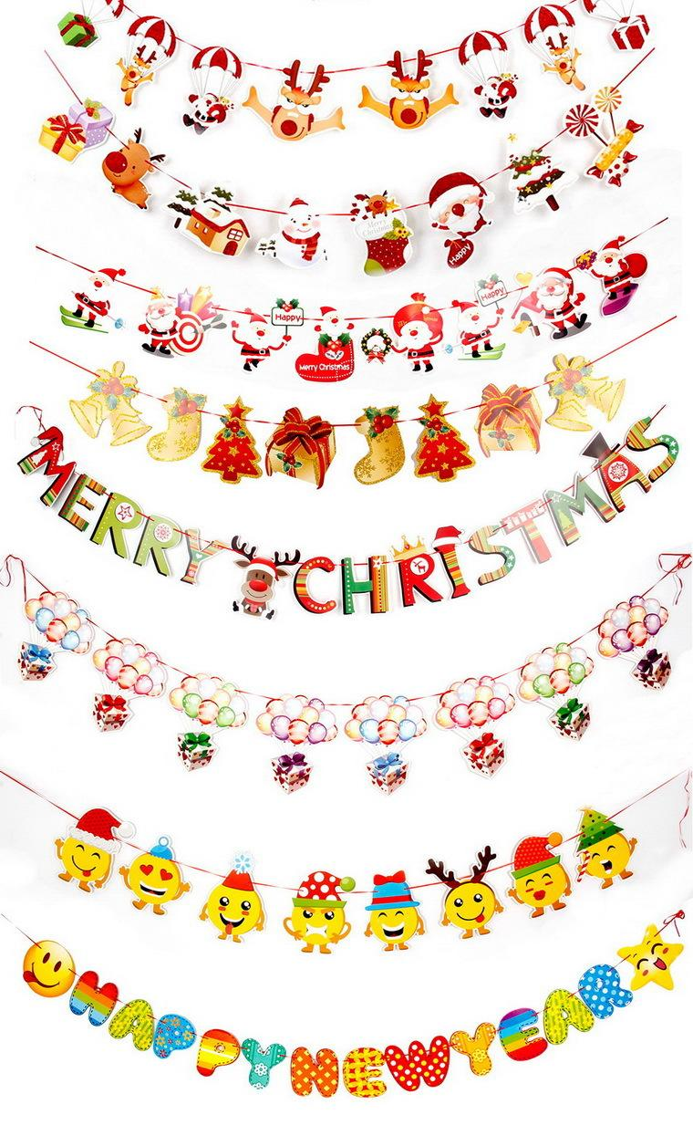 Christmas Festival Scene Drawing.Christmas Decoration Supplies Cartoon Drawing Flag Christmas Festival Scene Layout Christmas Paper Flag Hanging Factory Direct Sale Best Deals On
