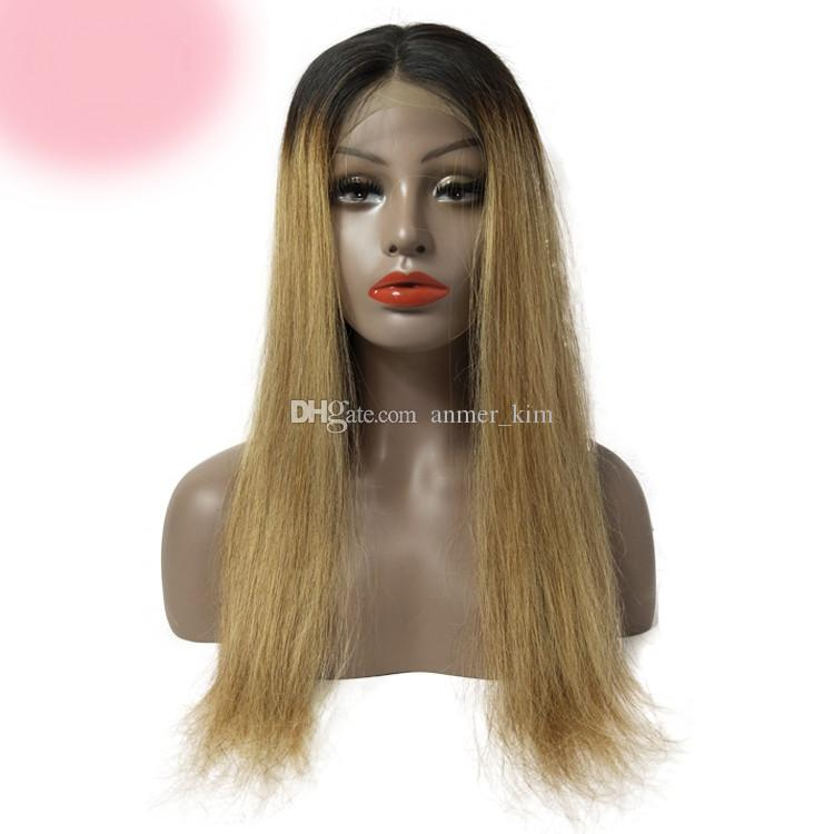 100% unprocessed raw virgin human hair long #1bt18 ombre color silky straight silk top full lace cap wig for women