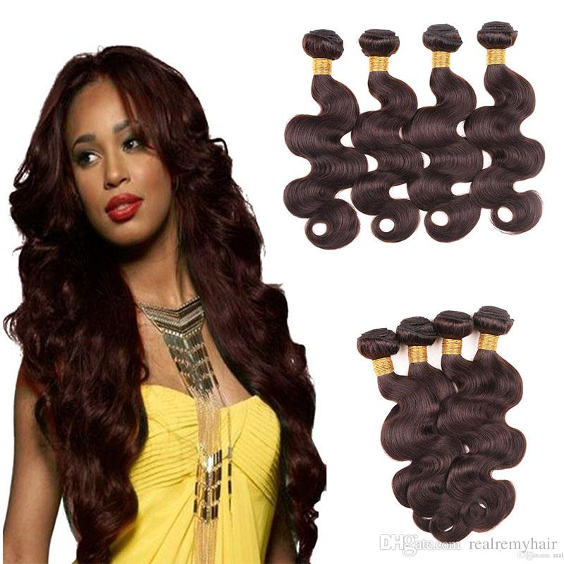 Hot Selling Brazilian Dark Brown Human Hair 4 Bundle Colored #2 Brazilian Human Hair Weaves Cheap Body Wave Virgin Human Hair Extensions