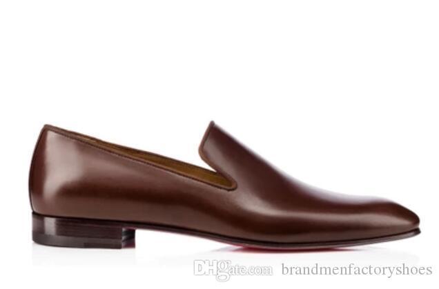 2018 yeni Erkek Deri Ayakkabı çikolata renk Oxfords İş Düğün Düz El Yapımı Erkekler Elbise Ayakkabı üzerinde kayma kalın topuk