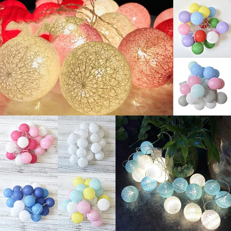 20 3M LED Globe Garland Cotton Ball String Fairy Lights Christmas Party Decorate