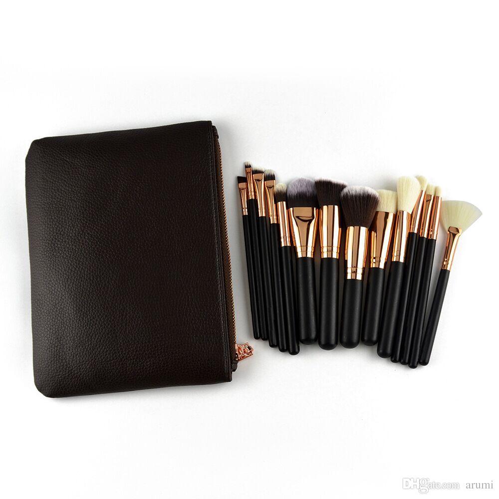 Hot Makeup Brushes Set 15pcs pennelli per viso e occhi con borsa Strumenti professionali per trucco Spedizione DHL