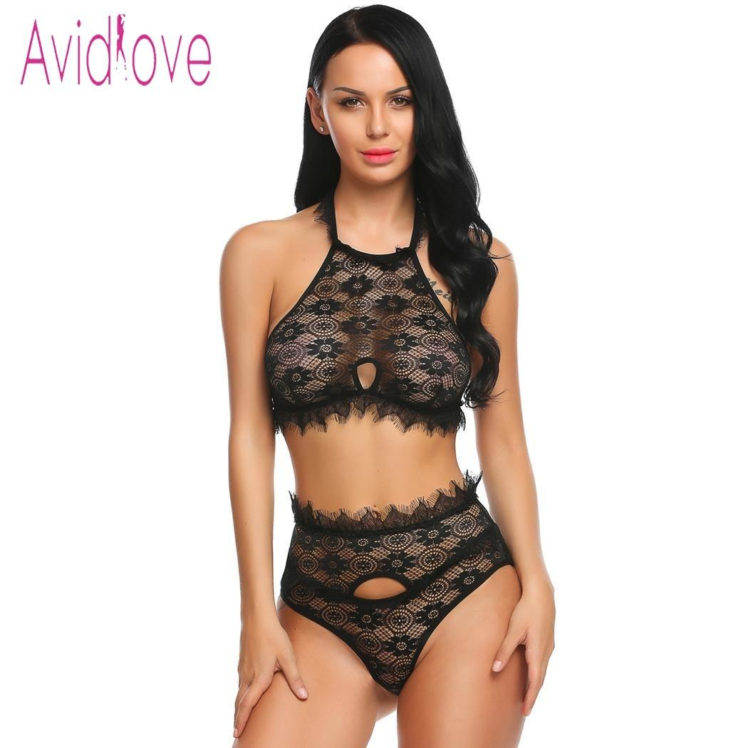Avidlove Sexy Underwear Lingerie Set Women Underwire Lace Bra and Panties Thong Erotic Hot Sex Costume Porn Exotic Apparel Black S18101509