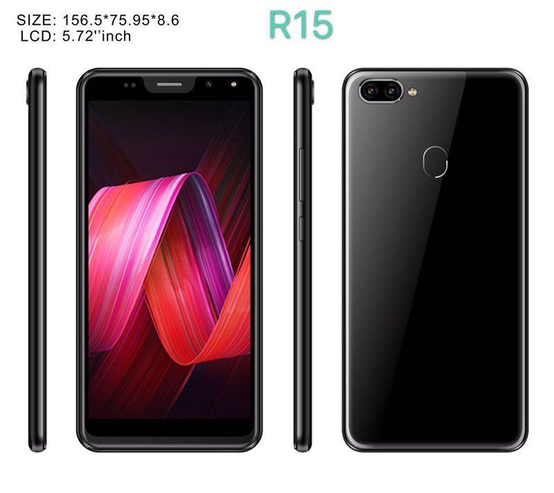 Дешевые R15 5,72-дюймовый Android-смартфон MTK6580 Четырехъядерный мобильный телефон 512 МБ RAM 4G ROM Мобильный телефон