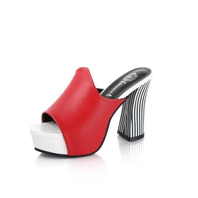2018 Yaz Seksi Kadın Katır Yüksek Topuk Sandalet Platformu Peep Toes Bayanlar Tıknaz Yüksek Topuklu Ayakkabı Kadın Topuk Yüksek 10 cm