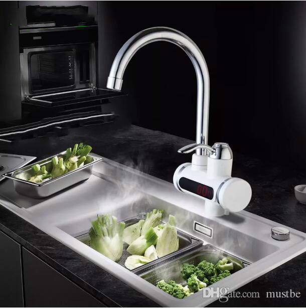 لحظة tankless سخان المياه الكهربائية صنبور المطبخ صنبور سخان لحظية + led الاتحاد الأوروبي التوصيل شحن مجاني