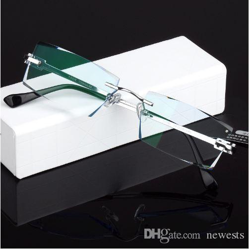 الرجال موضة النظارات التيتانيوم بدون شفة النظارات الإطار الماس ديكورات الإطار البصري مع زجاج وصفة جديدة oculos 621