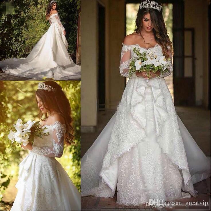 2020 модные с плеча кружева плюс размер свадебных платьев с длинным рукавом аппликации бальное платье на заказ Vestido Novia A-Line свадебное платье
