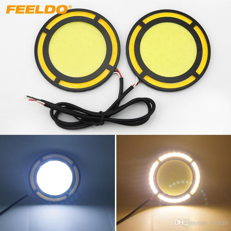 FEELDO 1pair DC12V 12W COB DRL Round 72 mm LIGHT Car Day Running Light White DRL Yellow Turn Light # 1422