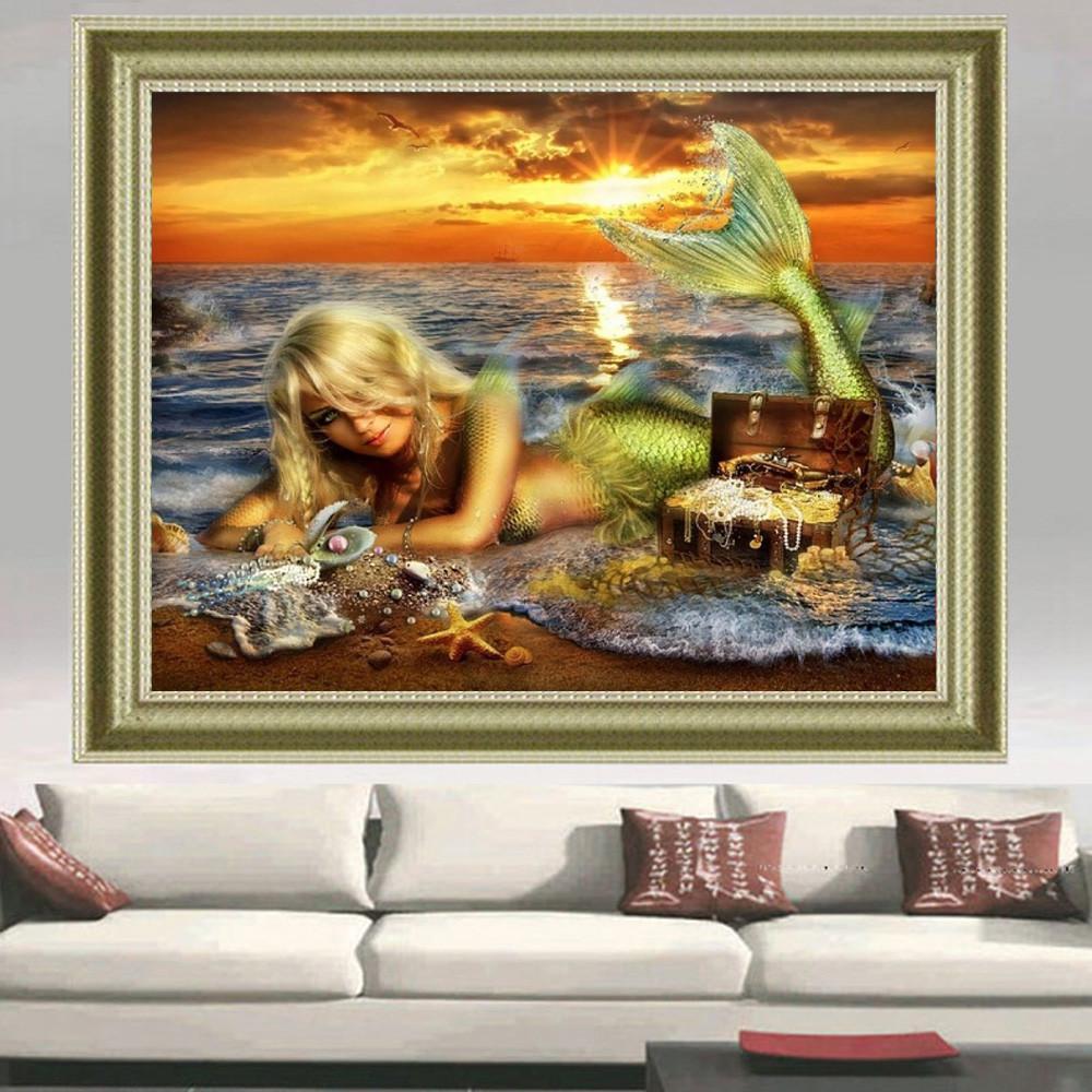 Diy Diamond embroidery Mermaid Diamond painting Jewelry 5d Square Diamond mosaic icon Floral for embroidery paintings The sea