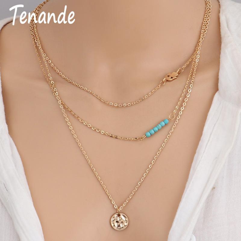 Neue Mode Multi Layer Erklärung Schlüsselbein Kette Boho Naturstein Perlen Pailletten Hamsa Hand Halsketten Anhänger Frauen