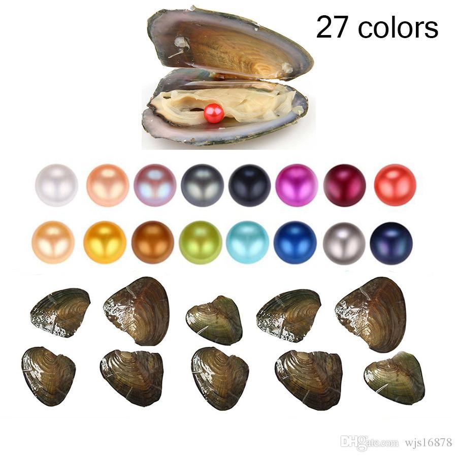 Hurtownie 2018 Natural Pearl 6-7mm Okrągła Perła w Ostrygach Akoya Oyster Shell z Colouful Perły Biżuteria przez próżniowy prezent biżuterii