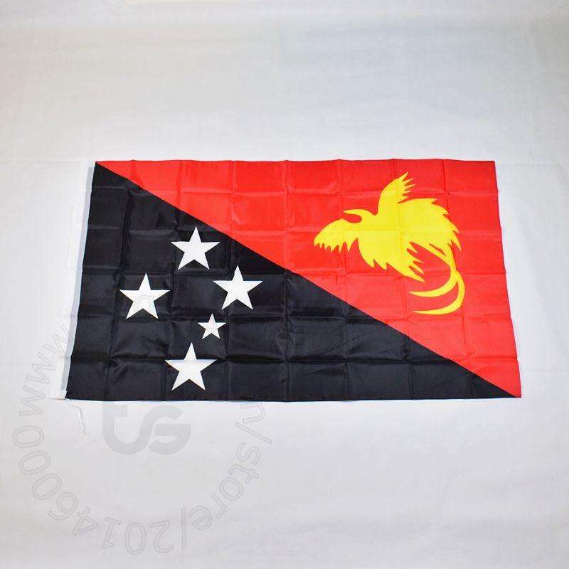 파푸아 뉴기니의 국기 무료 배송 3X5 FT / 90 * 150cm 매달려 국기 홈 장식 플래그 bannerPapua