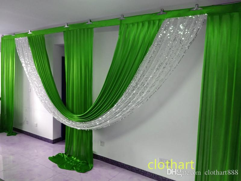 3M hoch * 6M breite Wackel für Kulisse Party Dekoration Hintergrund Valance Hochzeit Backcloth Bühnenvorhang (10ft * 20ft) Hintergrund mit Pailletten Draps