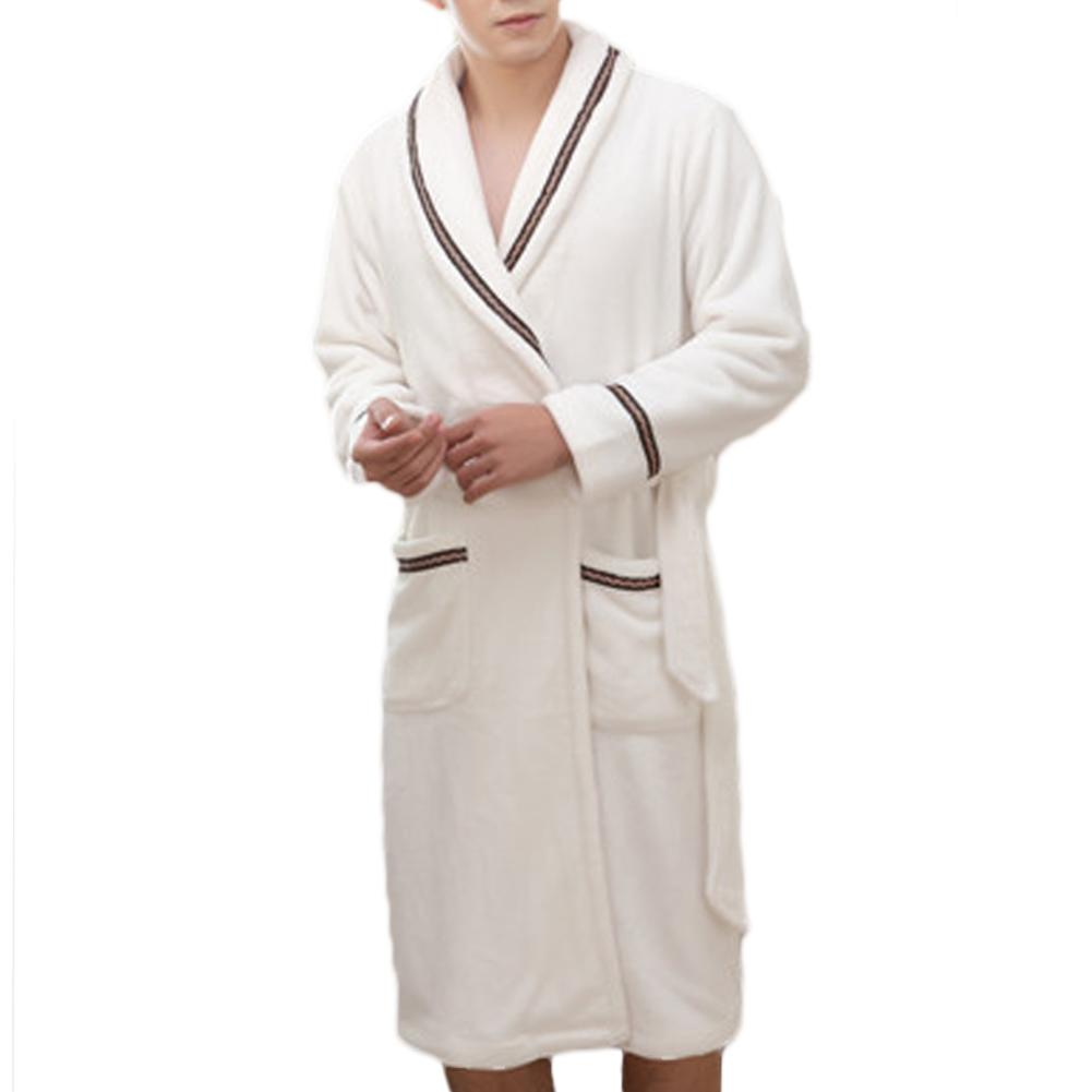 Men Coral Fleece Robe Kimono Gown Winter Thick Warm Nightgown Sleepwear Man Casual Home Wear