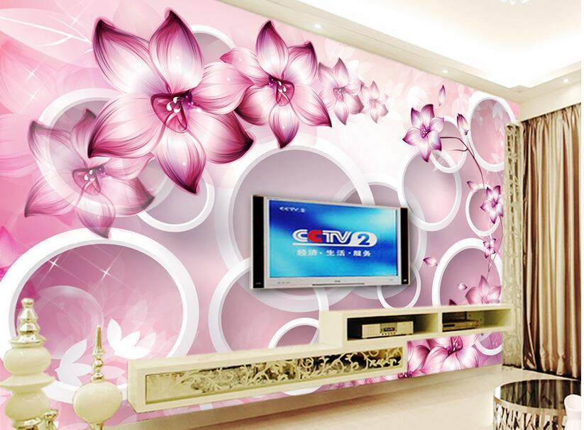 3d papier peint personnalisé photo murale Fantasy fleur cercle TV fond mur chambre décoration à la maison 3d peintures murales papier peint pour murs 3 d