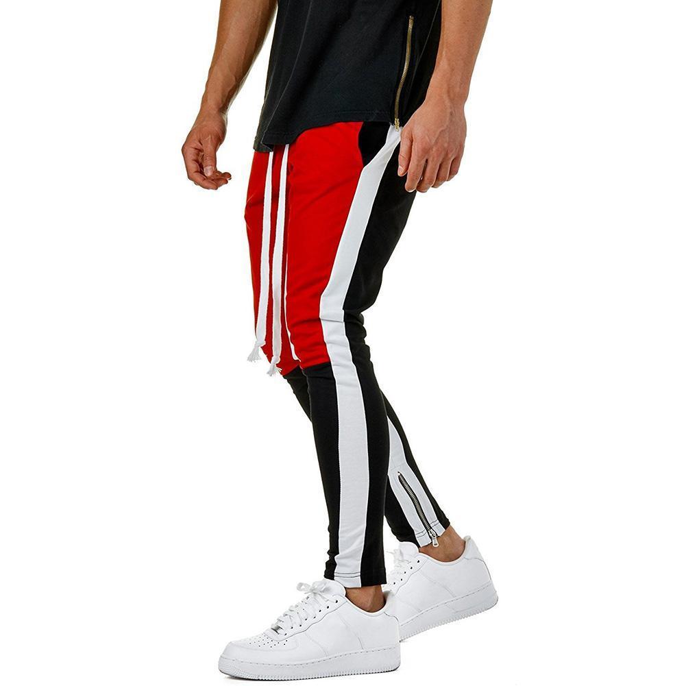 MISSKY Hommes Hip Hop Casual Side Zipper Color Block Drawstring Pants piste