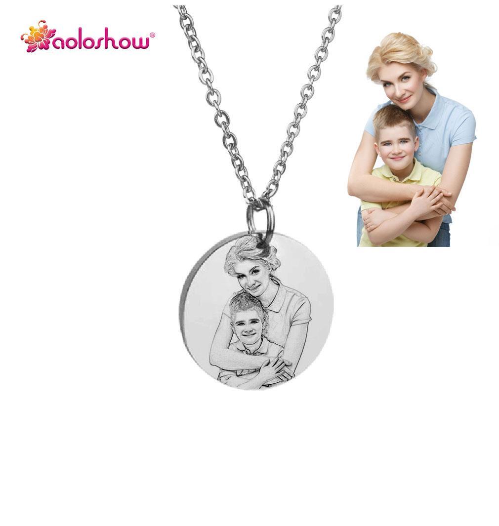 Personalisierte Custom Photo Gravierte Halskette für Frauen Edelstahl Disc Gravur Blank Halskette Personalisierte Name Foto Dropshipping