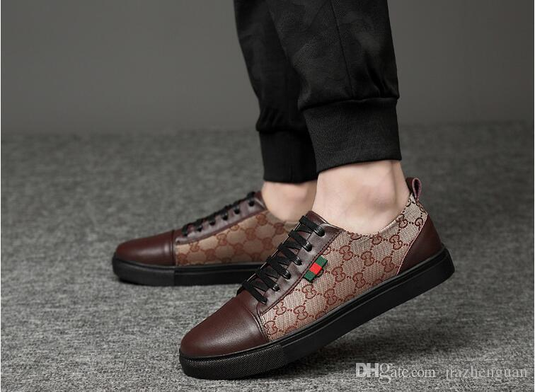 2019 Spring autumn Mens Loafers Men Shoes Casual Fashion Male Lace Shoes Up Men Genuine Leather Flat Leather Design Shoes For Men 38-45