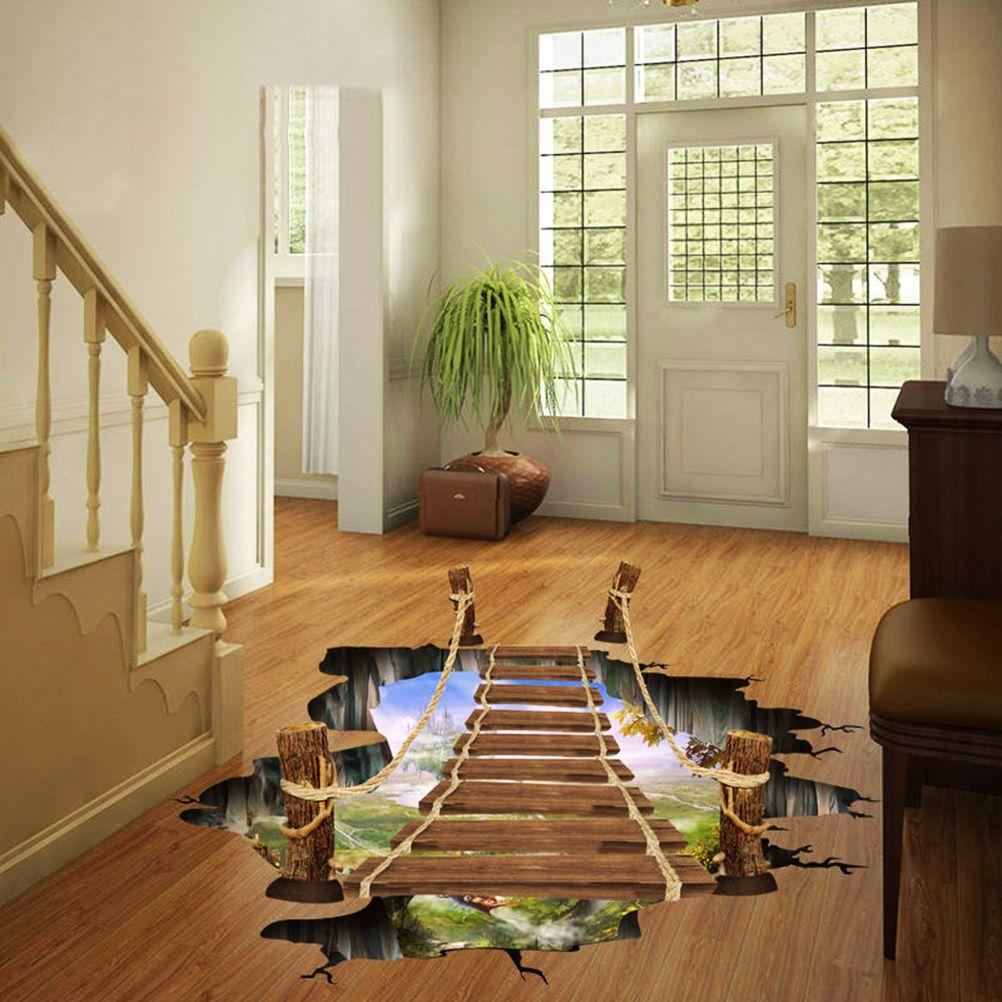 Оптовая 1 шт 60 * 90см 3D Подъемный мост напольные наклейки деревянный мост стикер стены Home Decor Бесплатная доставка