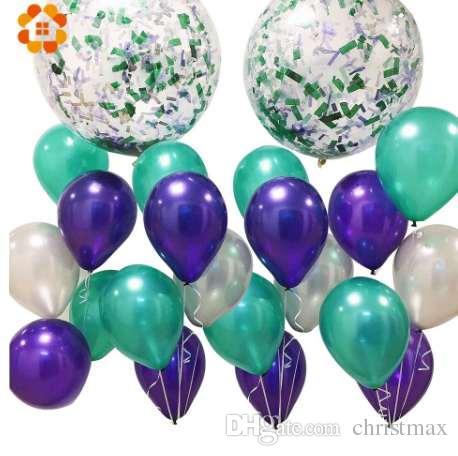 30 ADET 3 Renkler Mermaid 10 inç Lateks Balonlar Şişme Balon Brithday Düğün Parti Dekorasyon Bekarlığa Veda Partisi Malzemeleri