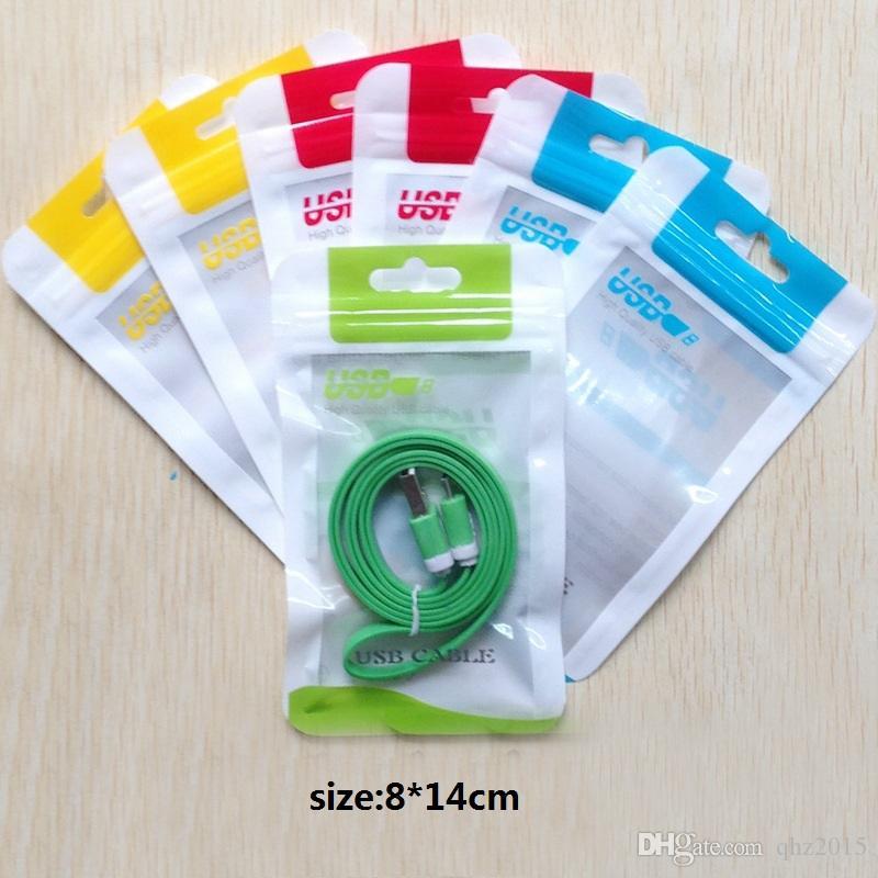15*10.5 14*8 см молнии пластиковые розничная сумка пакет повесить отверстие Поли упаковка для USB-кабель Поли opp упаковка мешок