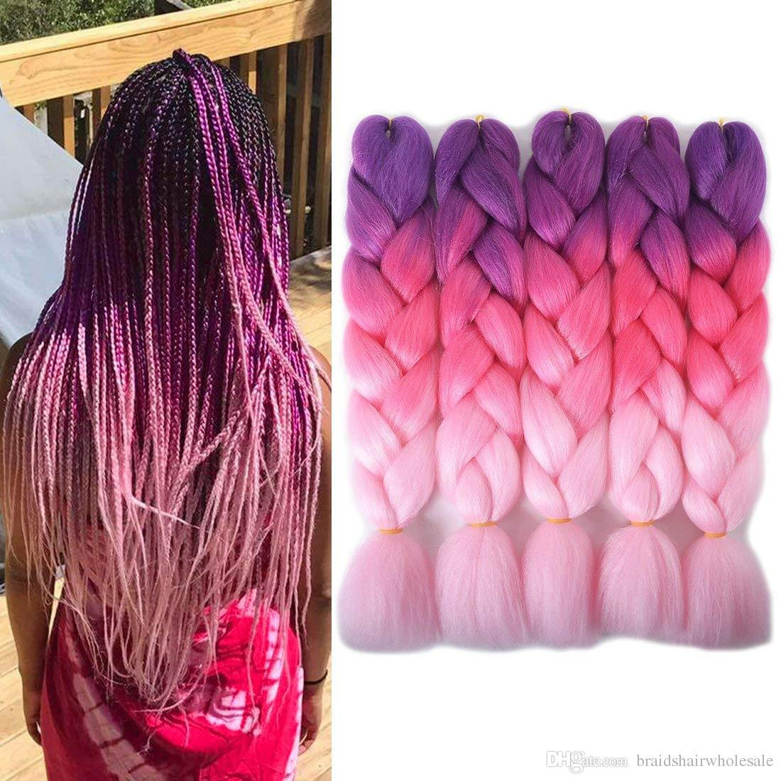 Kanekalon Synthetic braiding hair 24inch 100g Ombre Three tone color jumbo braid hair extensions 60 colors Optional Cheap Xpression Braiding