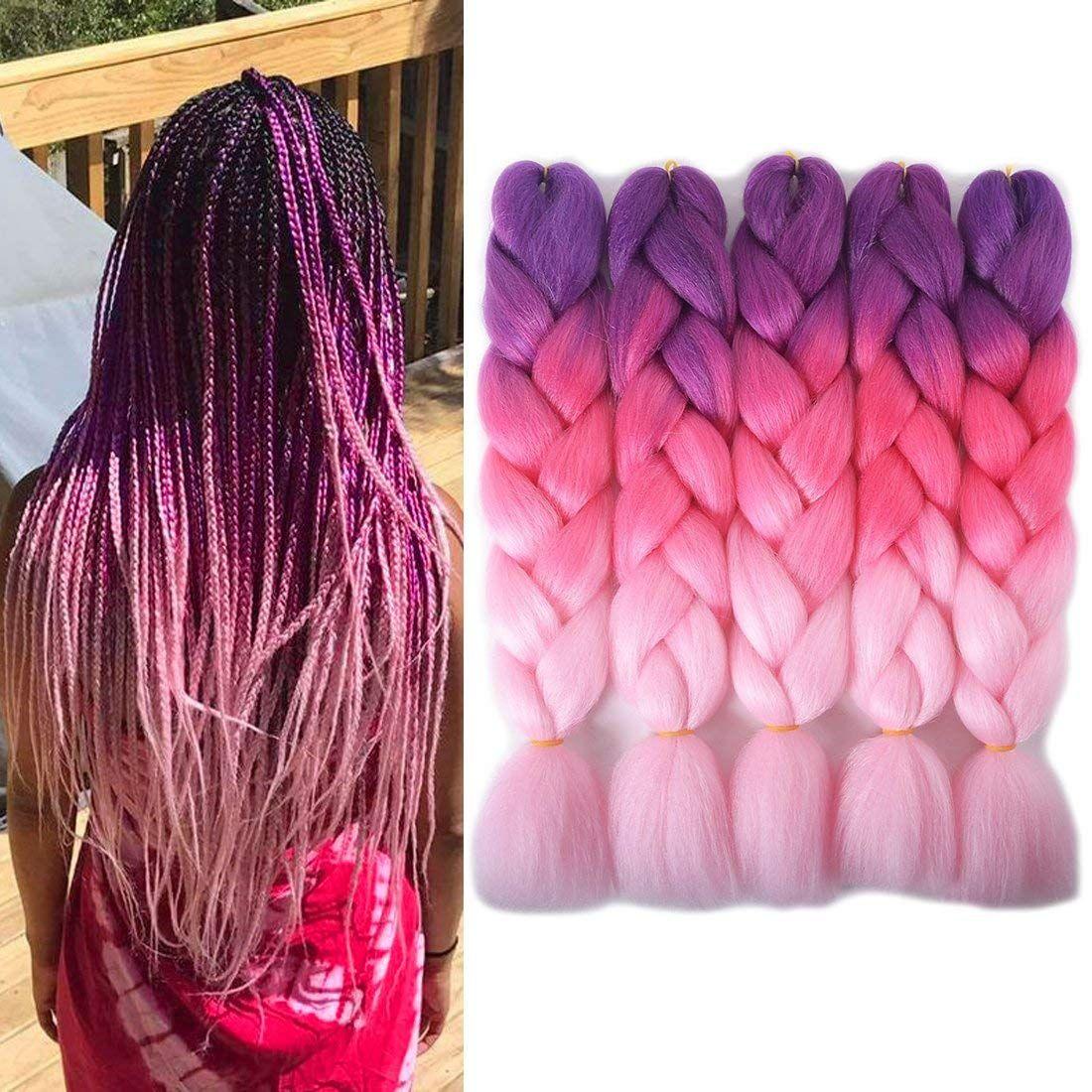 Kanekalon Sentetik saç 24inch 100g Ombre Üç tonu renk jumbo örgü saç uzantıları 60 renk Opsiyonel Ucuz Xpression Örgü örmek
