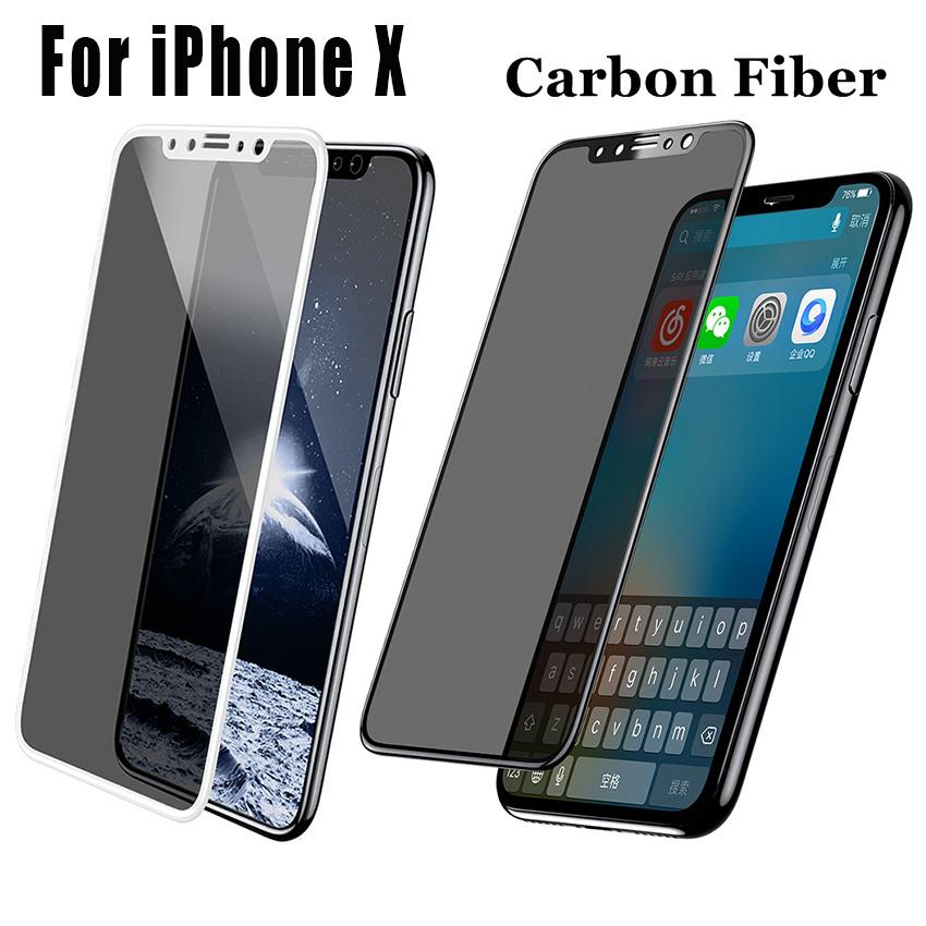 huge selection of c7caa cfaca For IPhone X 8 Carbon Fiber Privacy Tempered Glass Anti Scratch Screen  Protector For IPhone 6 7 Plus With Retail Package Best Cell Phone Screen ...