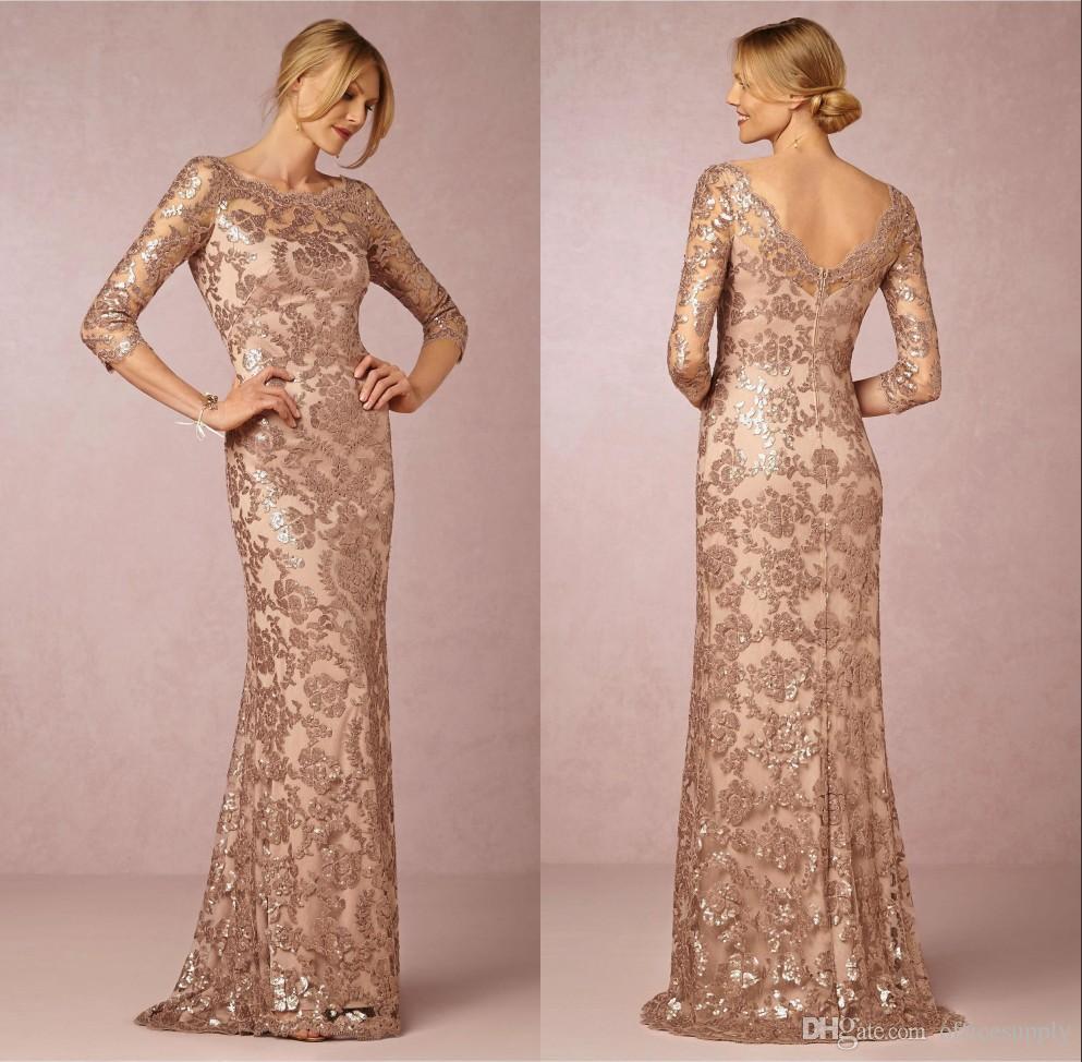 Rose Gold Mãe do Partido Evening Formal Train vestidos de noiva Long Neck Lace Sleeve Vintage varredura Wear