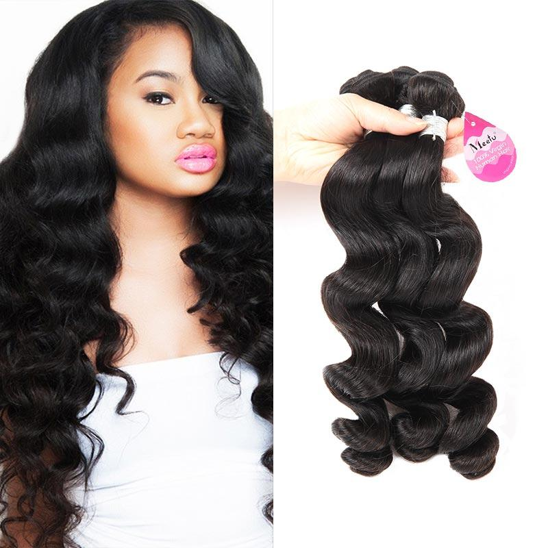 10A Brazilian Virgin Hair Loose Wave Hair Weave 3 Bundles 300g Unprocessed Loose Deep Wave Virgin Human Hair Weave Natural Color
