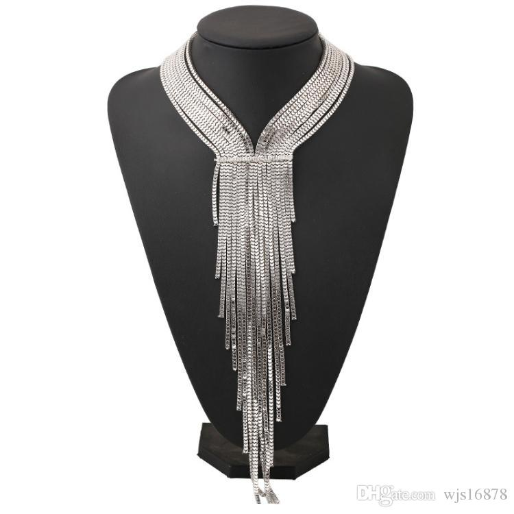 여성을위한 도매 2018 펑크 실버 도금 긴 술의 초커 목걸이 Luxury MultiLayer Crystal Pendent Necklings Statement Jewelry