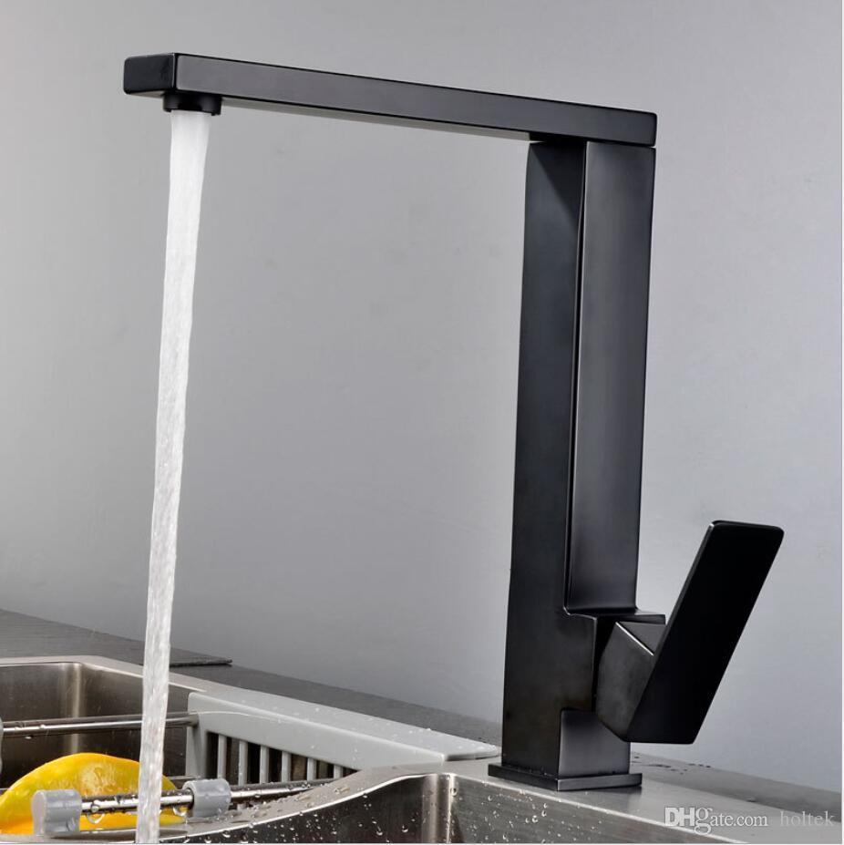 Deck Montado Praça 304 Aço Inoxidável Fosco Preto / Escovado Torneira Da Cozinha Mixer Pia Único Furo Único Punho Da Torneira de Água