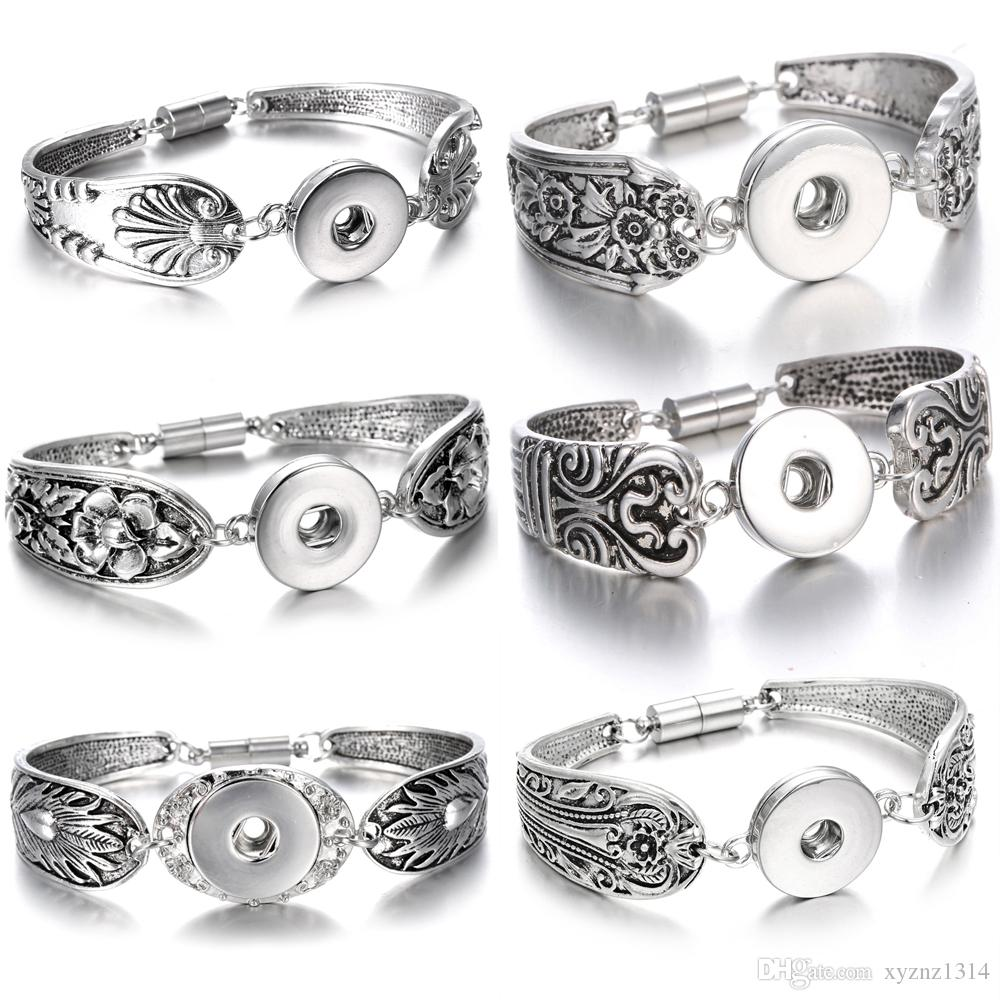 Noosa Chunk Snap Button Jewelry Bracelet Bohemian Vintage Silver Magnet Metal Snap Button Bracelet Watches Pulseras Women 18mm Snap Jewelry