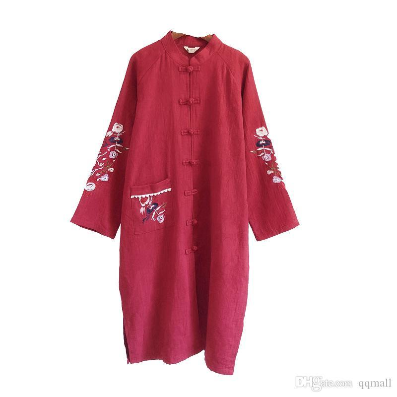 Blumenstickerei Stehkragen Platte Knöpfe Baumwolle Windjacke Strickjacke Herbst Retro chinesischen Stil Leinen Kleid