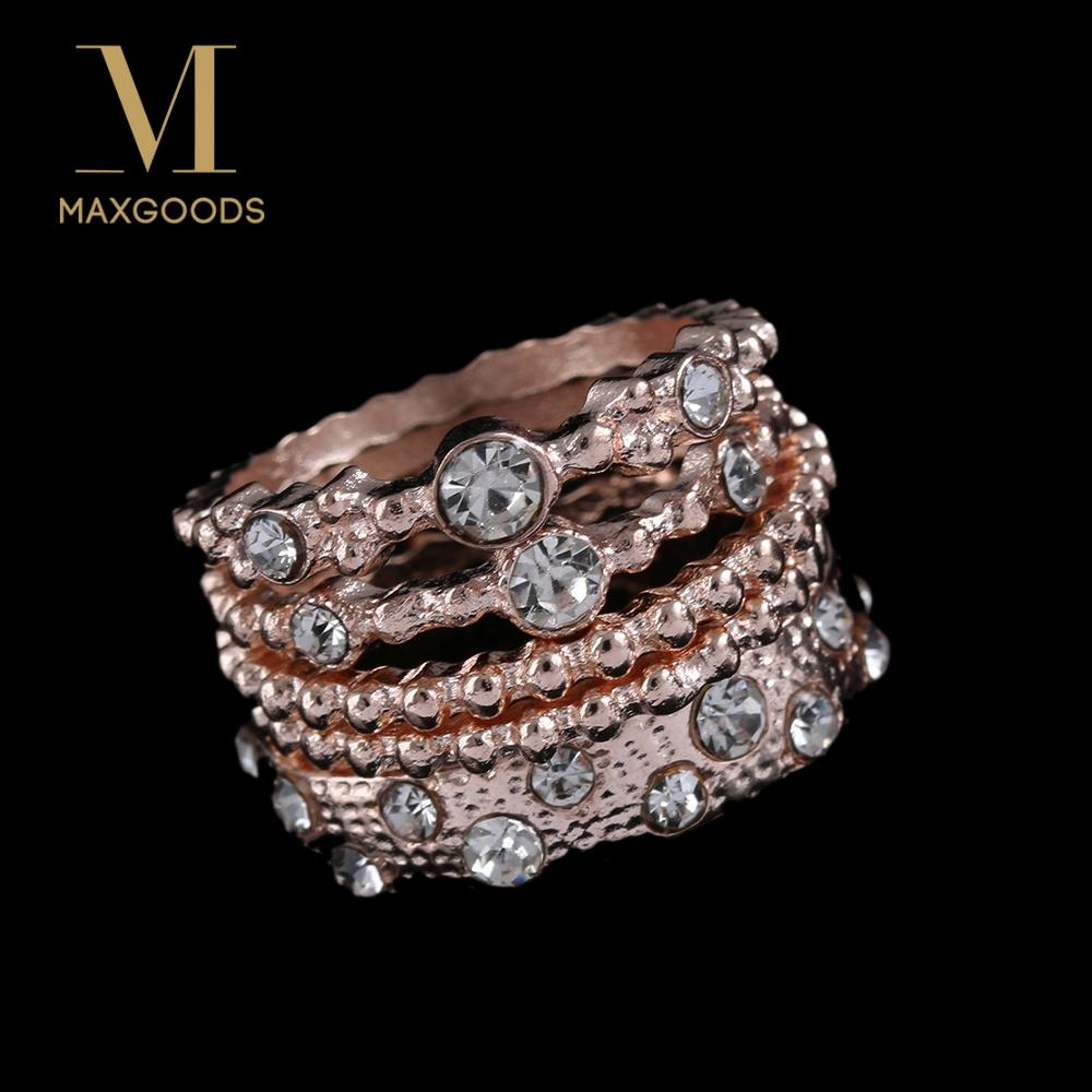 5Pcs Women Sparkly Rose Gold Rhinestone Stackable Wedding Ring Set Jewelry