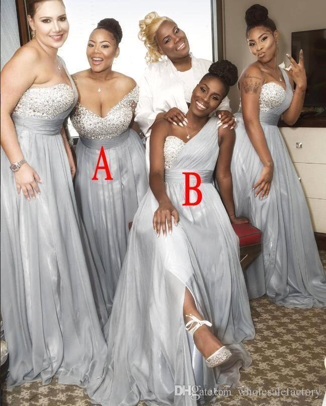 Afrikansk Silver Chiffon Beaded Top Plus Storlek Lång Brudtärna Klänningar En Shoulder Ruched Split Bröllop Guest Maid of Honor Dresses BA8881